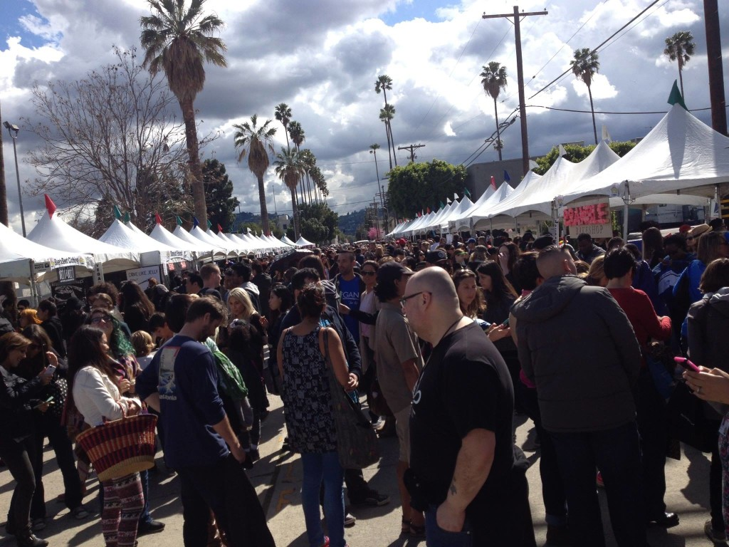 Crowd gathering at Vegan Street Fair in LA