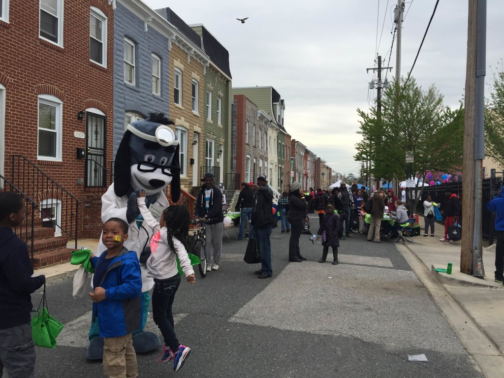 Children gather at Paul's Place's Spring Into Good Health Festival in Baltimore, MD.