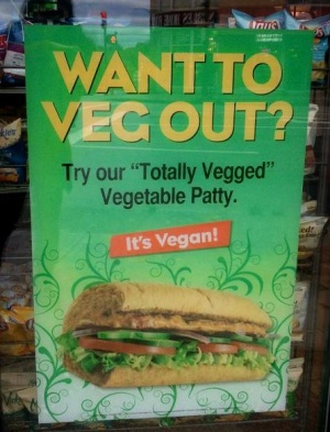 Subway sign advertising vegan patty